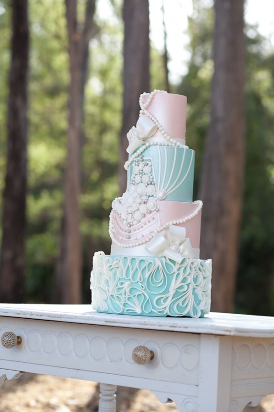 blue and pink wedding cake by The Cake Mamas