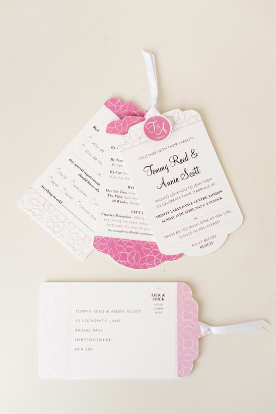 pink and white wedding stationary by Eagle Eyed Bride