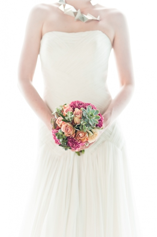 rose and succulent bouquet by Blue Sky Flowers