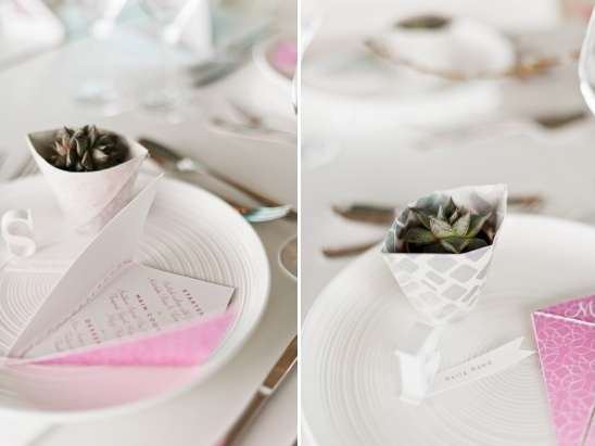 origami wedding menu and favor ideas