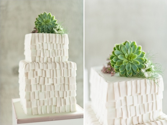 textured white and succulent wedding cake by Olofson Design