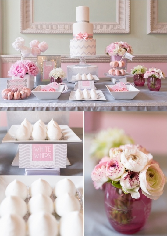 pink and gray cake table ideas