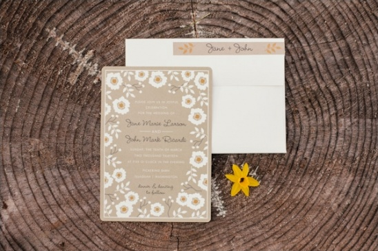 brown, white and orange wedding invites by Minted