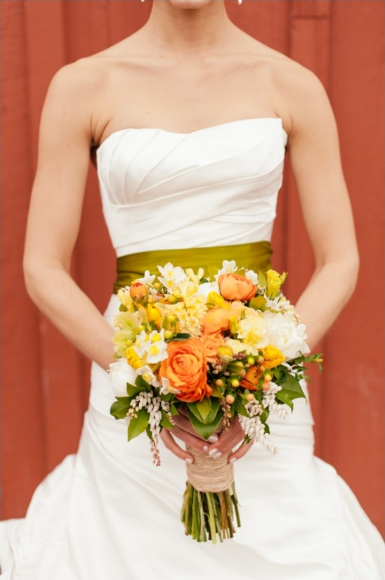 yellow and orange wedding bouquet by Melanie Benson Floral