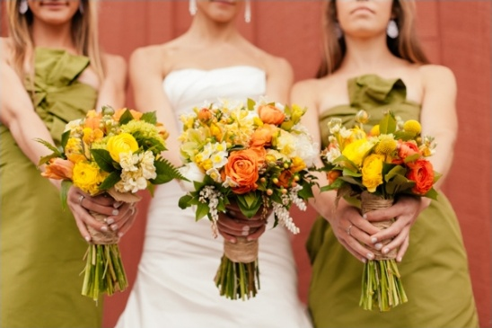 yellow and orange boutquets by Melanie Benson Floral