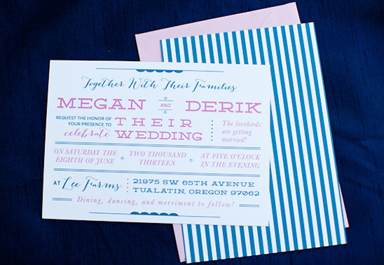 navy and pink wedding invite by Three Fifteen Design