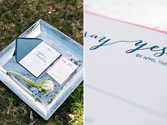 navy and pink wedding invite