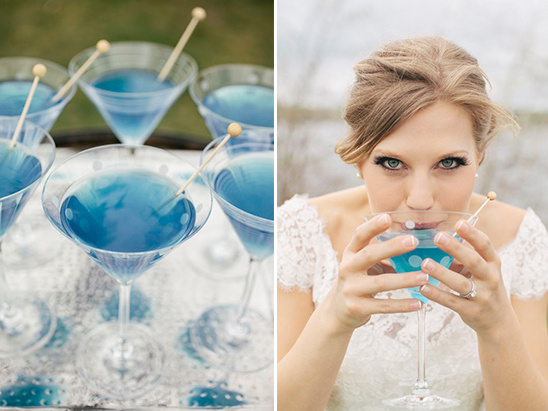 blue wedding cocktail