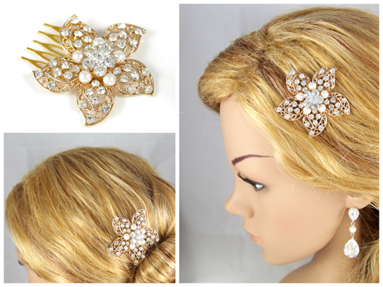 Rose Gold Hair Comb, Pearl hair comb, pink gold wedding, flower, crystal, bridal, brides, hair accessories