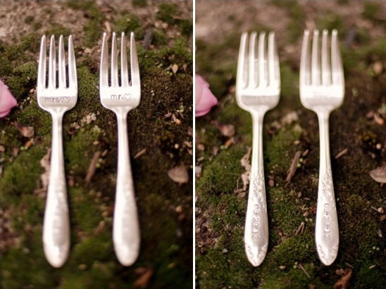 Mr. and Mrs customized forks