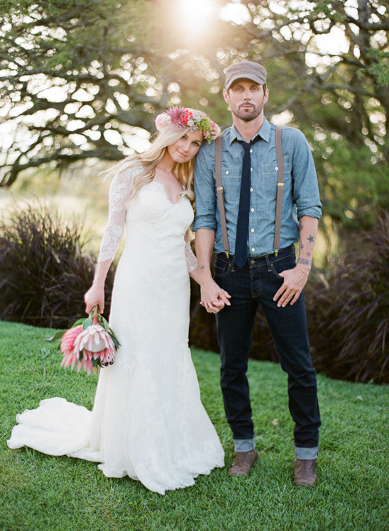 boho bride and groom looks