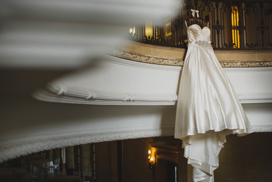 Wedding dress on staircase