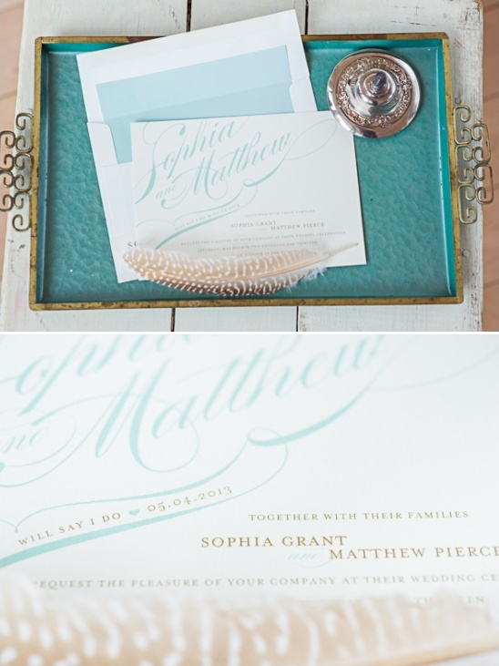 teal and brown wedding invites by Minted