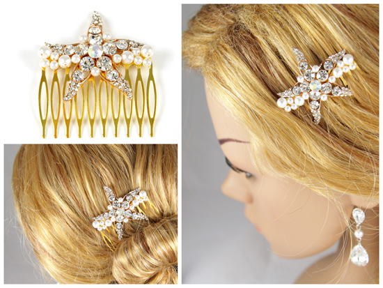rose godl starfish and pearl hair comb