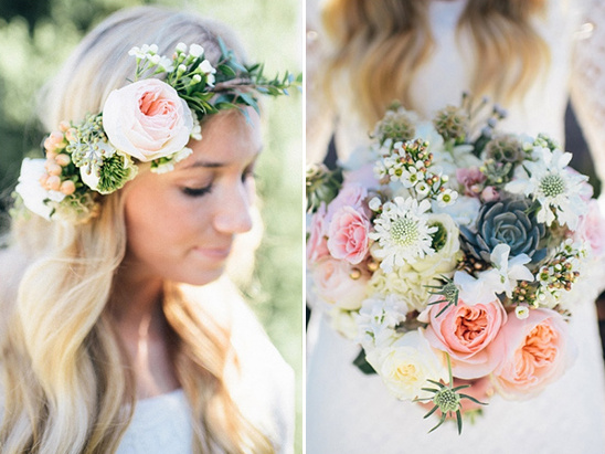 floral halo and bouquet