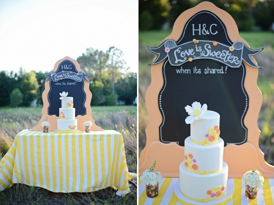 love is sweeter when it's shared cake table sign