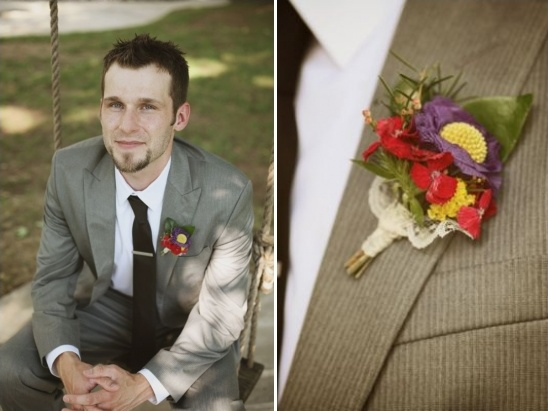colorful boutonniere by Cedarwood Weddings