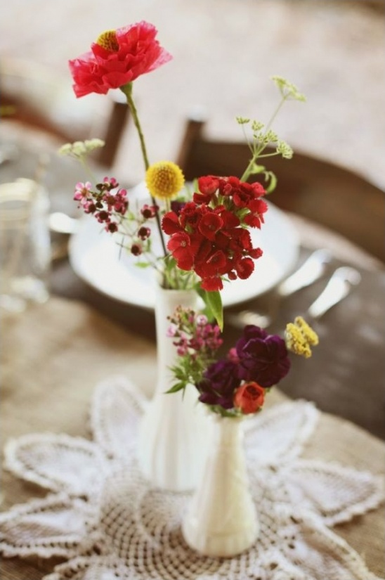 milk glass arrangements