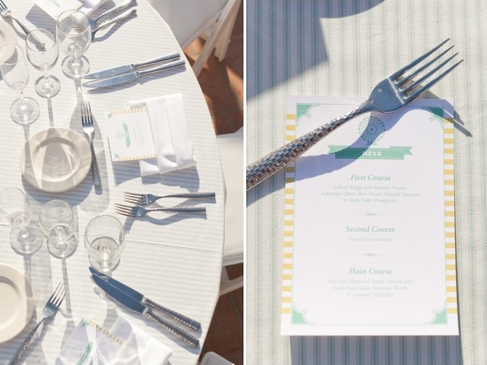 mint and yellow wedding menus by Steven Vogel