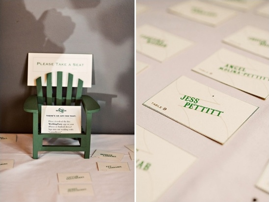 green and white escort card ideas