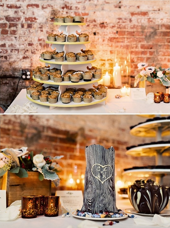 wedding cupcakes and grooms cake