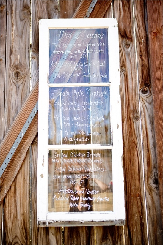 window wedding menu ideas