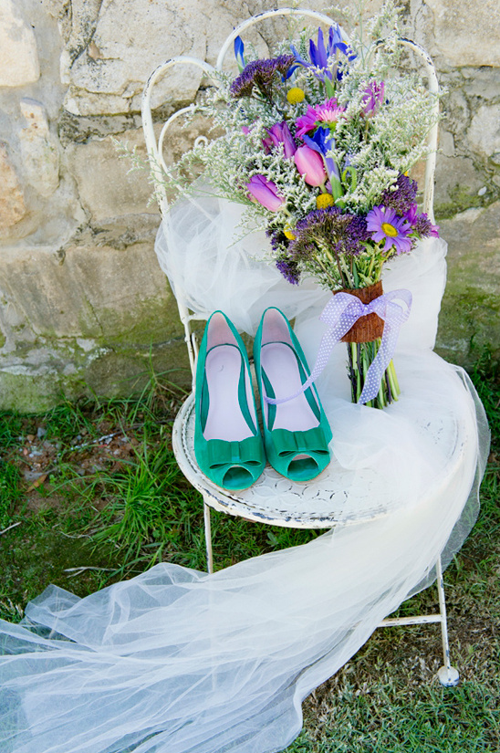 green wedge wedding shoes by Andrè