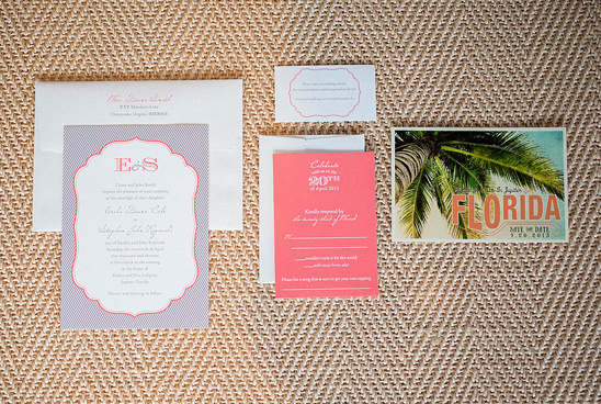 pink and gray wedding invites by Tag and Company
