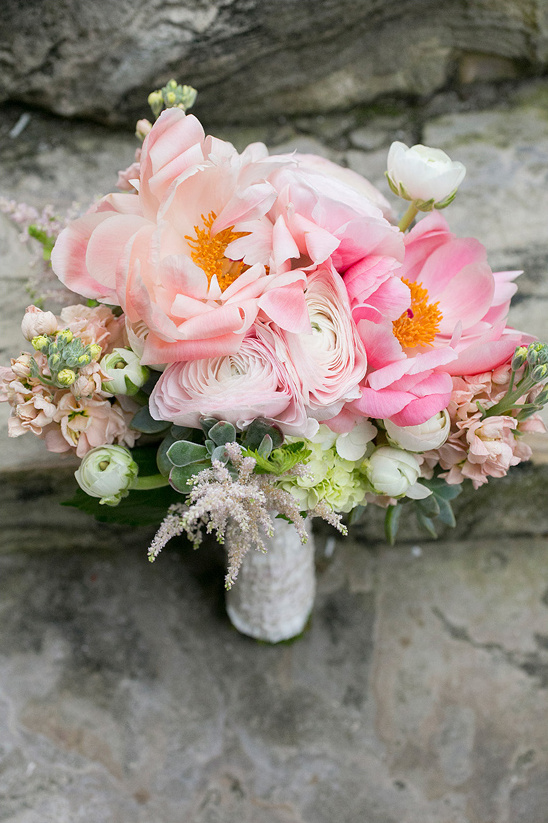 pink wedding bouquet by Heaven & Earth Floral