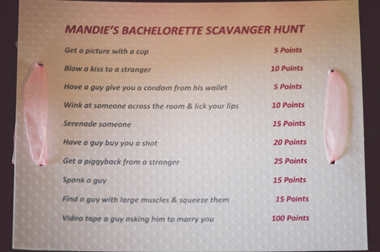 bachelorette scavanger hunt ideas