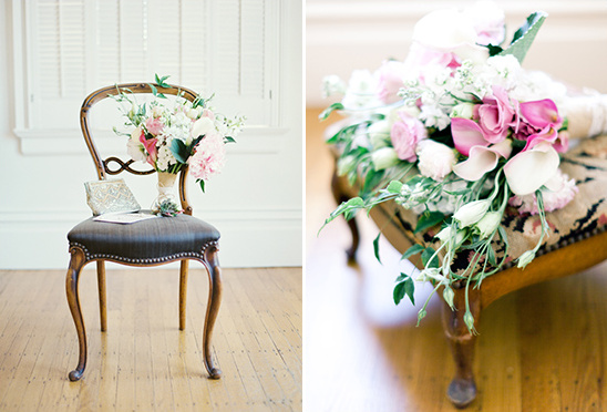 green and pink wedding bouquet