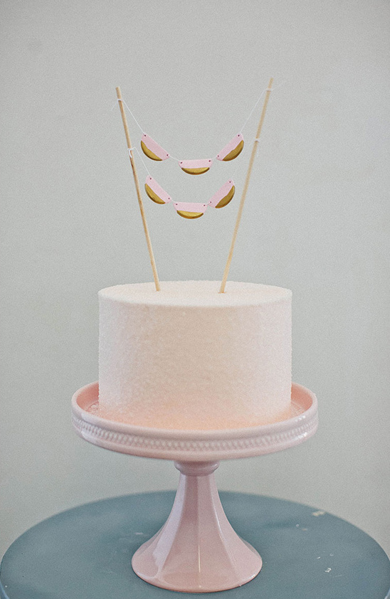pink and gold whimsical cake topper