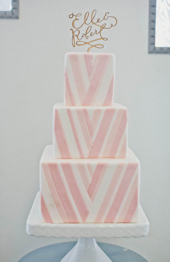pink and white chevron wedding cake
