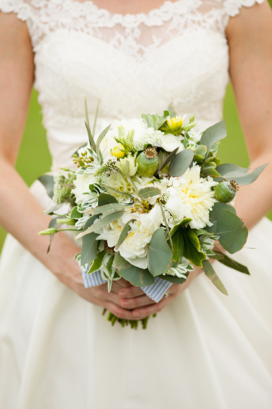 green and white wedding bouquet by Posh Floral Designer