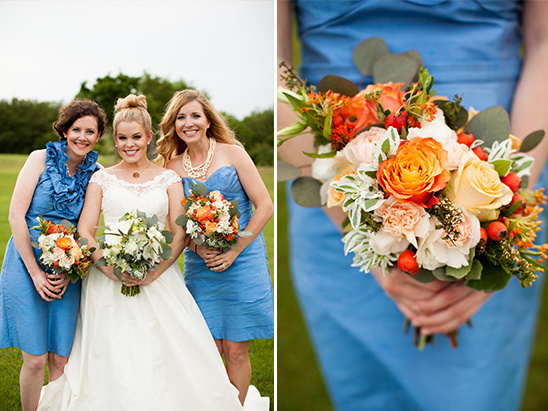 blue bridesmaid dresses by Watters