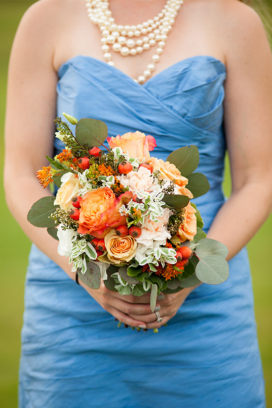 orange, white and green bouquet by Posh Floral Designer