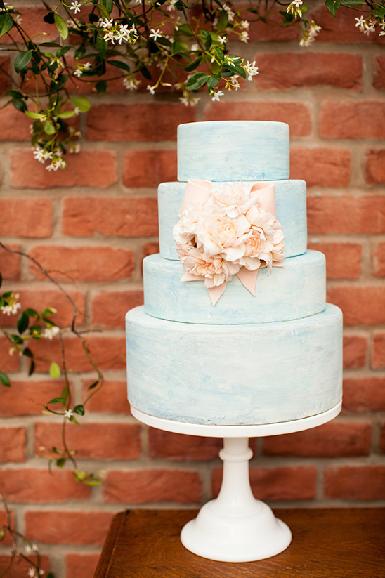 blue wedding cake by Layered Bake Shop