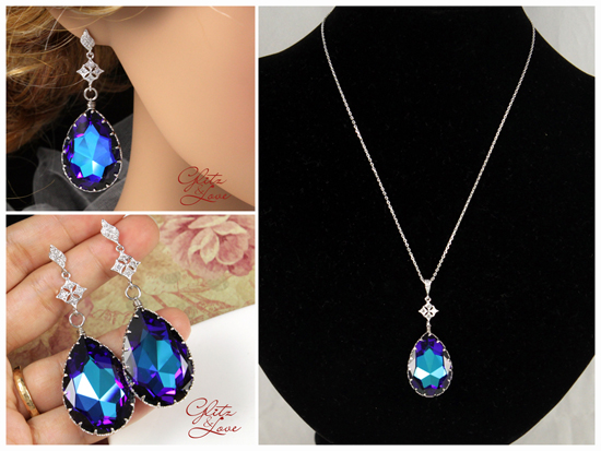 Swarovski Heliotrope Crystal Earrings and Necklace