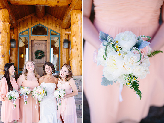 pink bridesmaid dresses and white bouquets