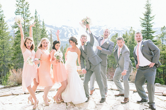 peach and gray wedding party looks