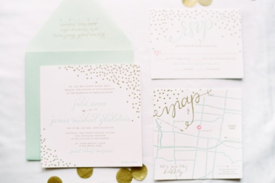 mint and gold wedding invite