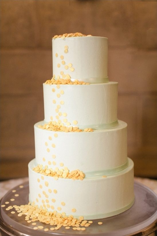 white, mint and yellow wedding cake by Sugaree Baking Company