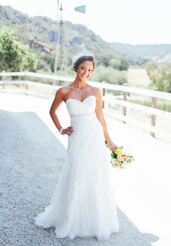 chiffon and lace wedding gown by La Soie Bridal