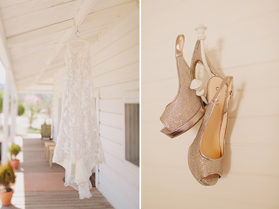 gold Guess wedding shoes