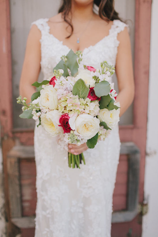 red and white wedding bouquet by Flowers by Kim