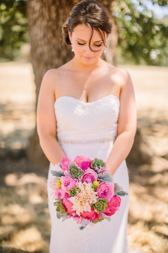 pink and succulent wedding bouquet