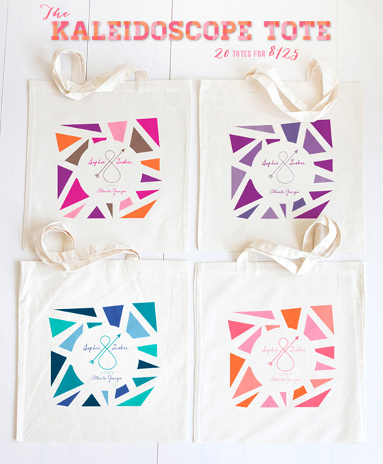 kaleidoscope tote bags from the wedding chicks