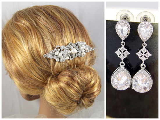 Bridal silver hair comb with crystal and pearl, Cubic Zirconia Teardrop Earrings