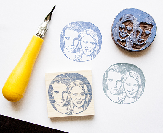 Custom Couple Portrait Handmade Rubber Stamp