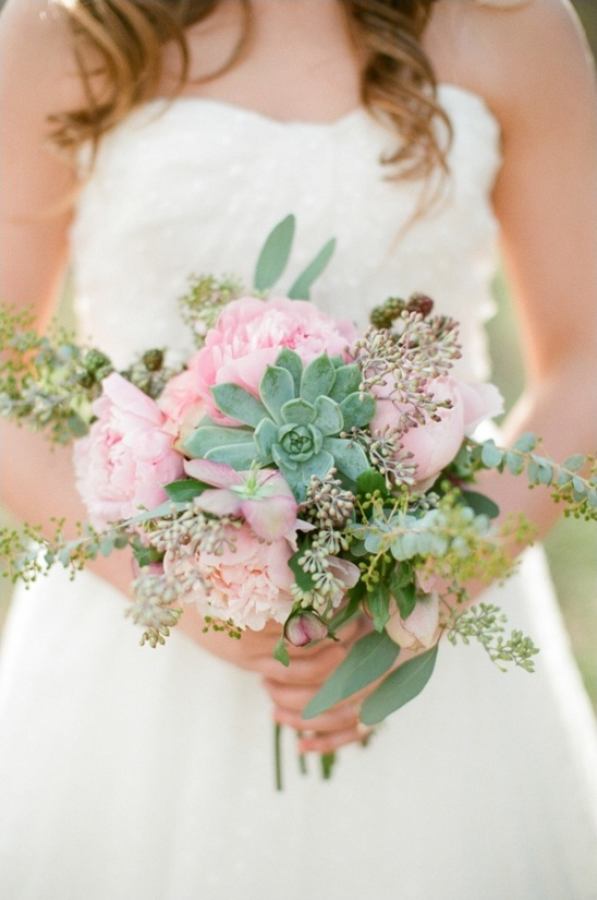 pink and succulent wedding bouquet by Amy Lynne Originals